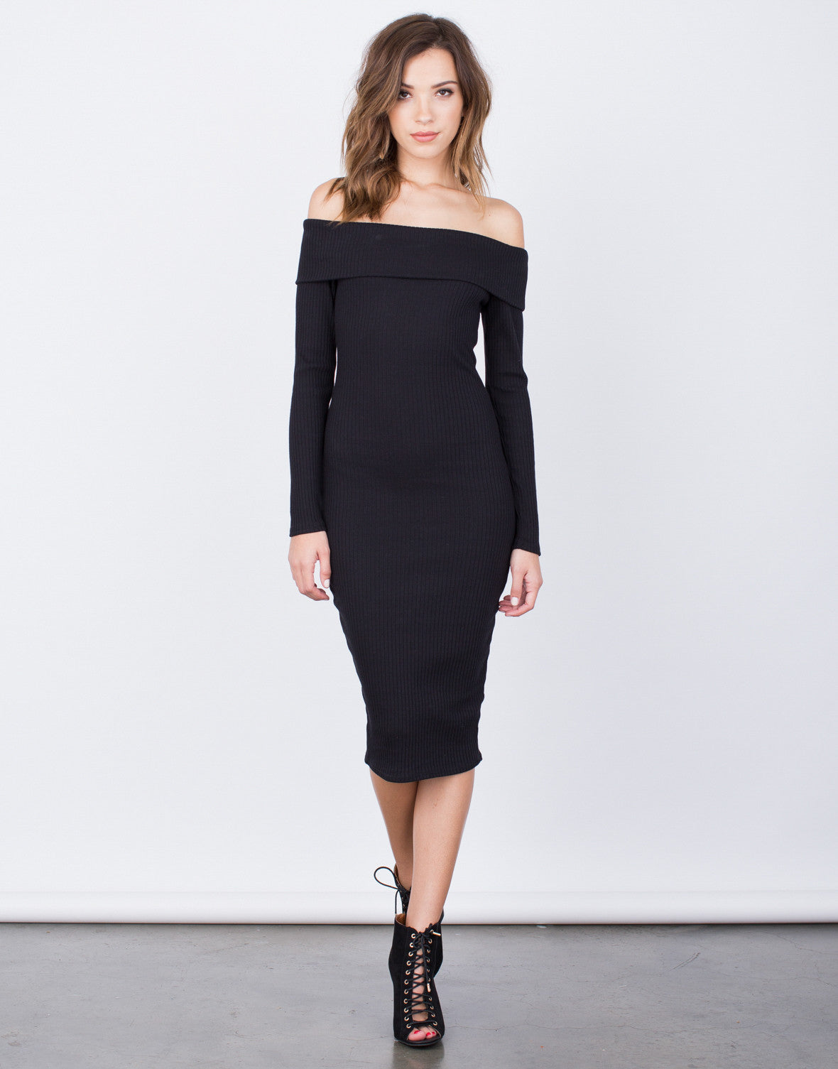 a78f1689018 Off-the-Shoulder Bodycon Dress - Ribbed Midi Dress - Little Black ...