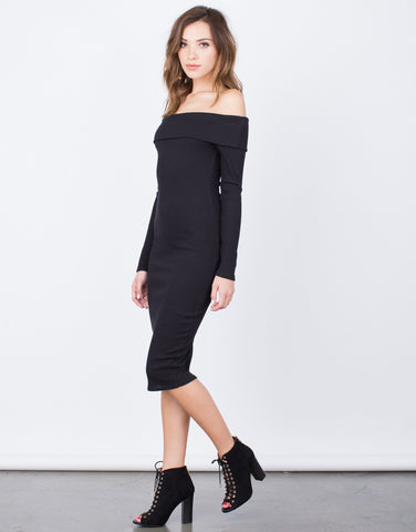 Side View of Off-the-Shoulder Bodycon Dress