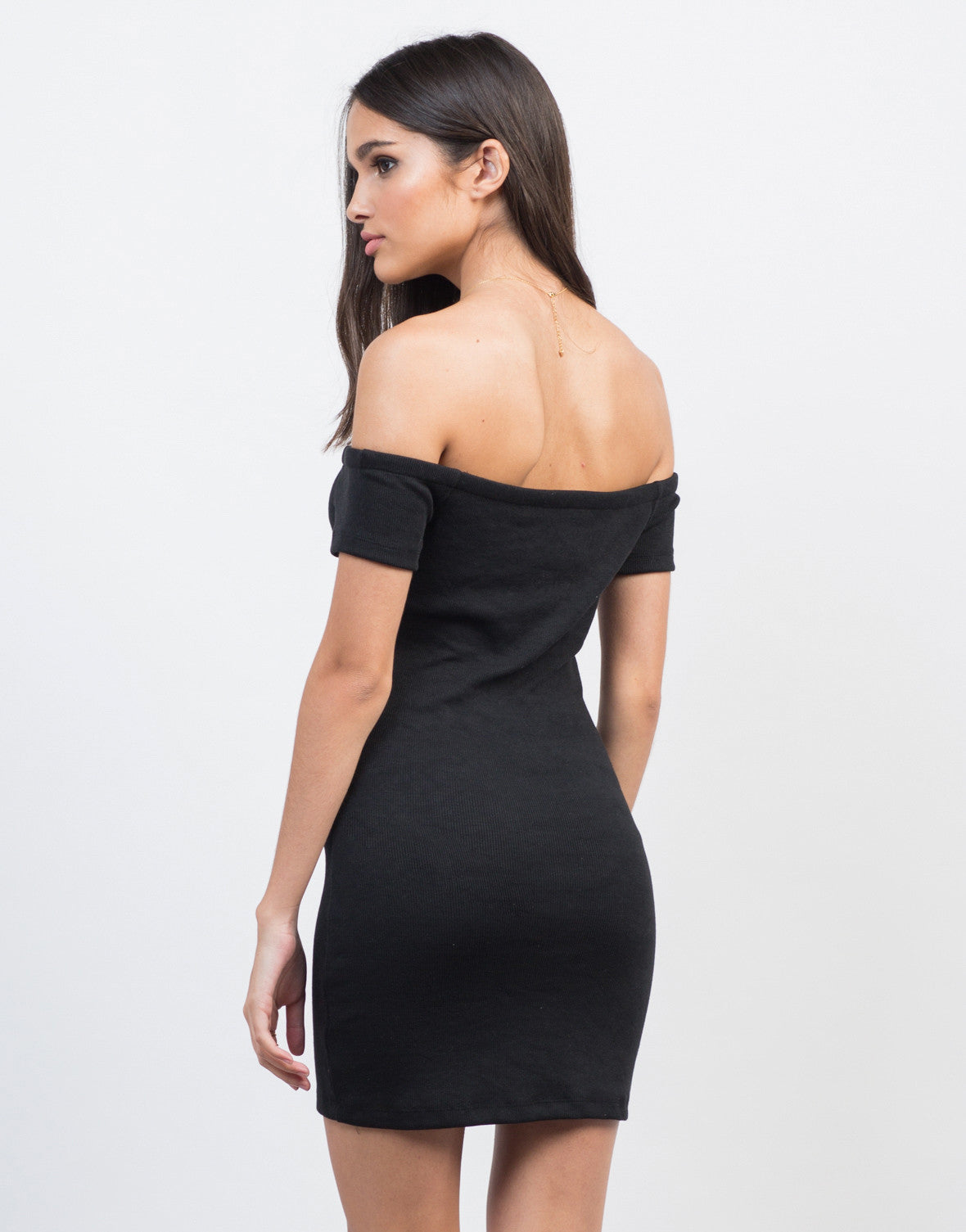 Back View of Off-the-Shoulder Bodycon Rib Dress
