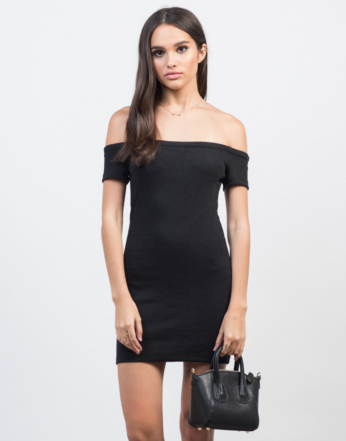Front View of Off-the-Shoulder Bodycon Rib Dress