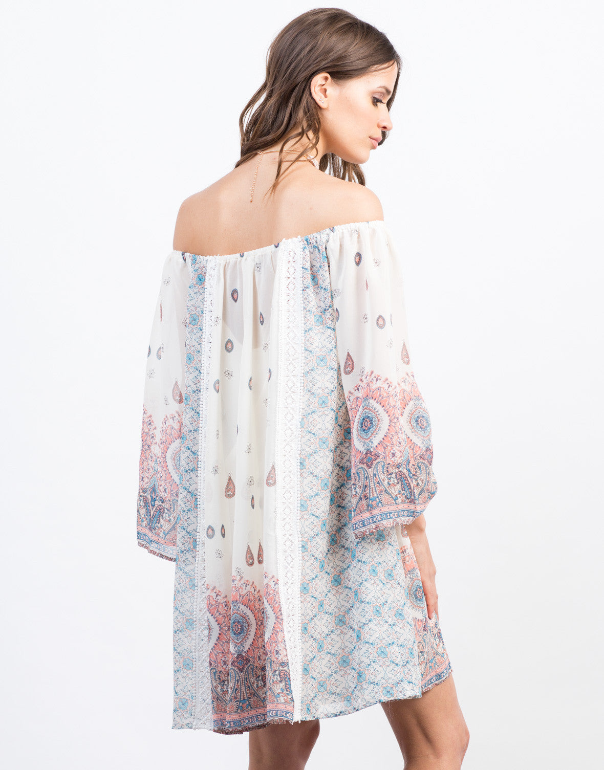 Back View of Off the Shoulder Chiffon Print Dress