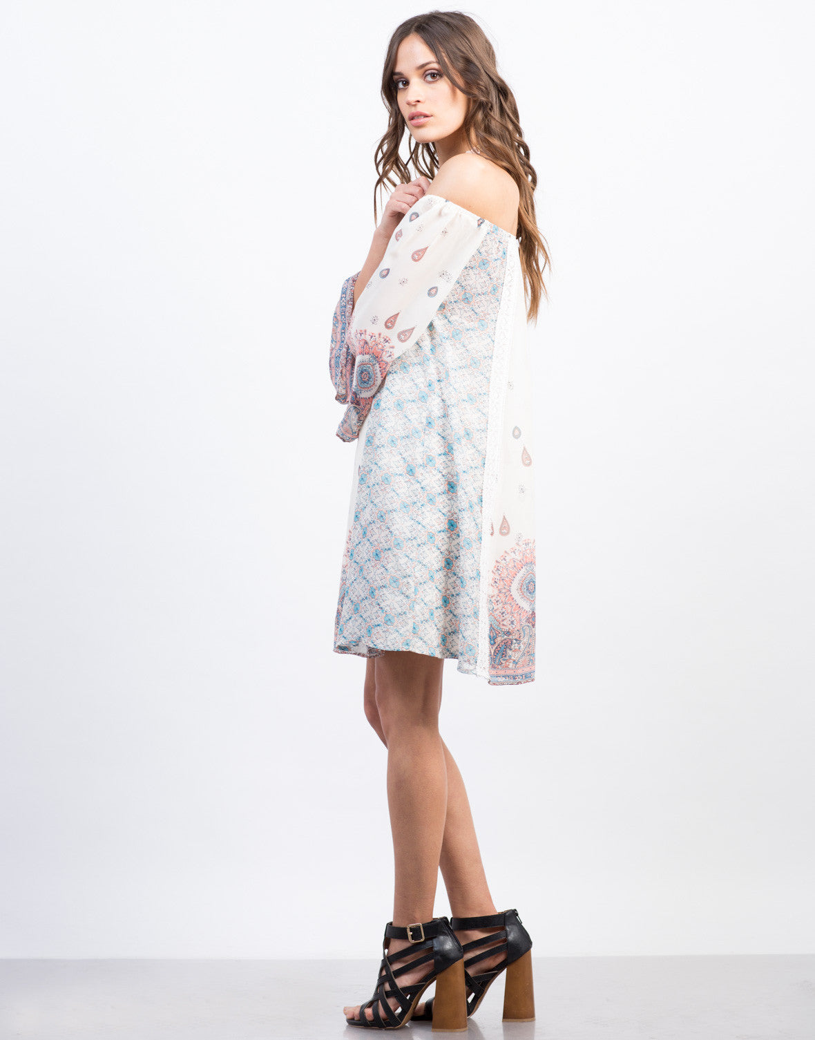 Side View of Off the Shoulder Chiffon Print Dress