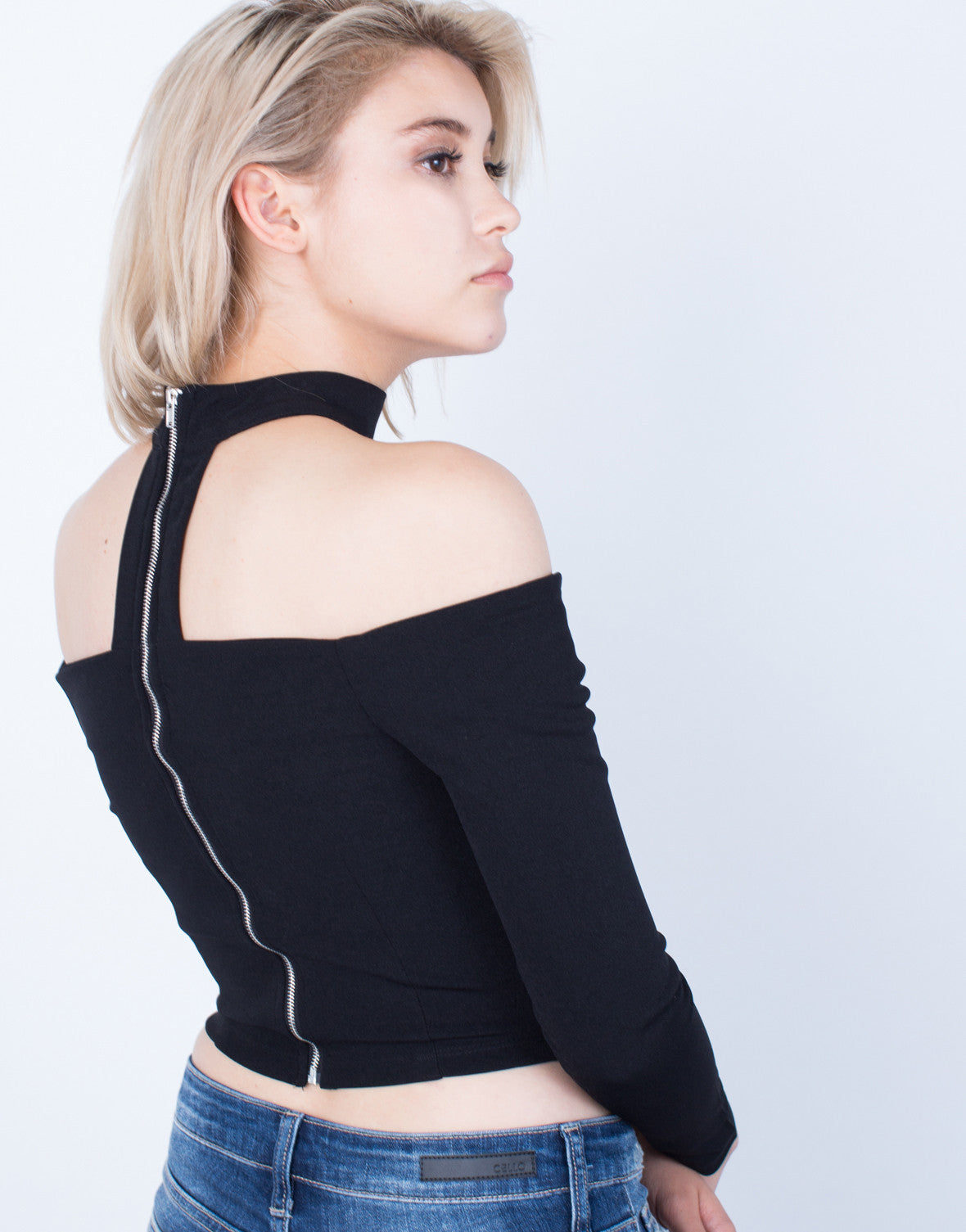 Detail of Off-the-Shoulder Choker Crop Top