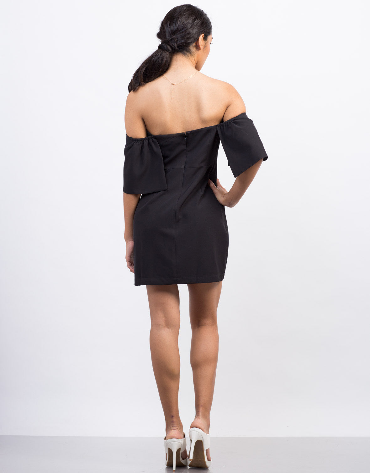 Back View of Off-the-Shoulder Cocktail Dress