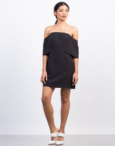 Front View of Off-the-Shoulder Cocktail Dress