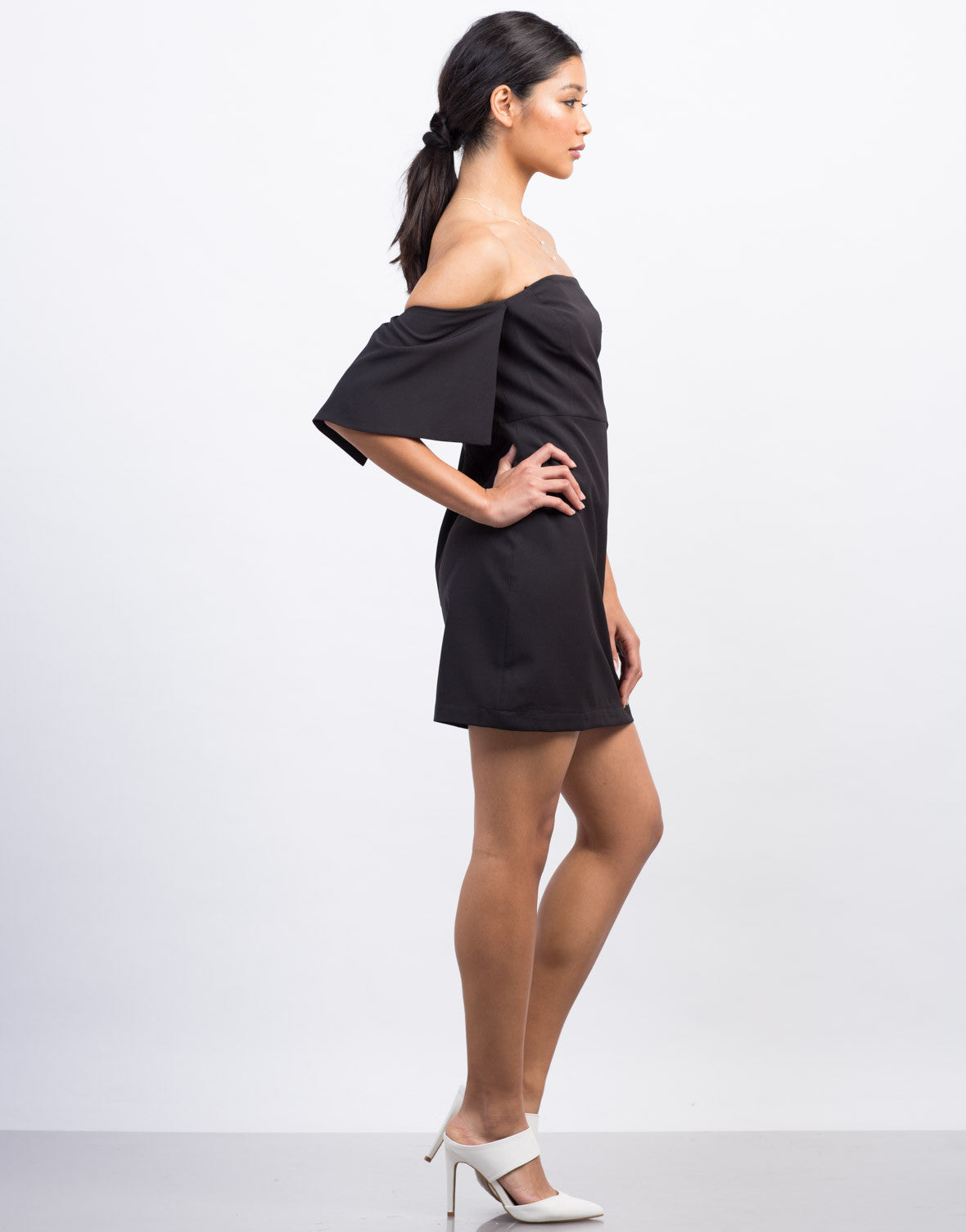 Side View of Off-the-Shoulder Cocktail Dress