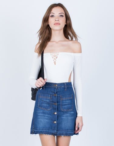 Off-the-Shoulder Cut Out Bodysuit - 2020AVE