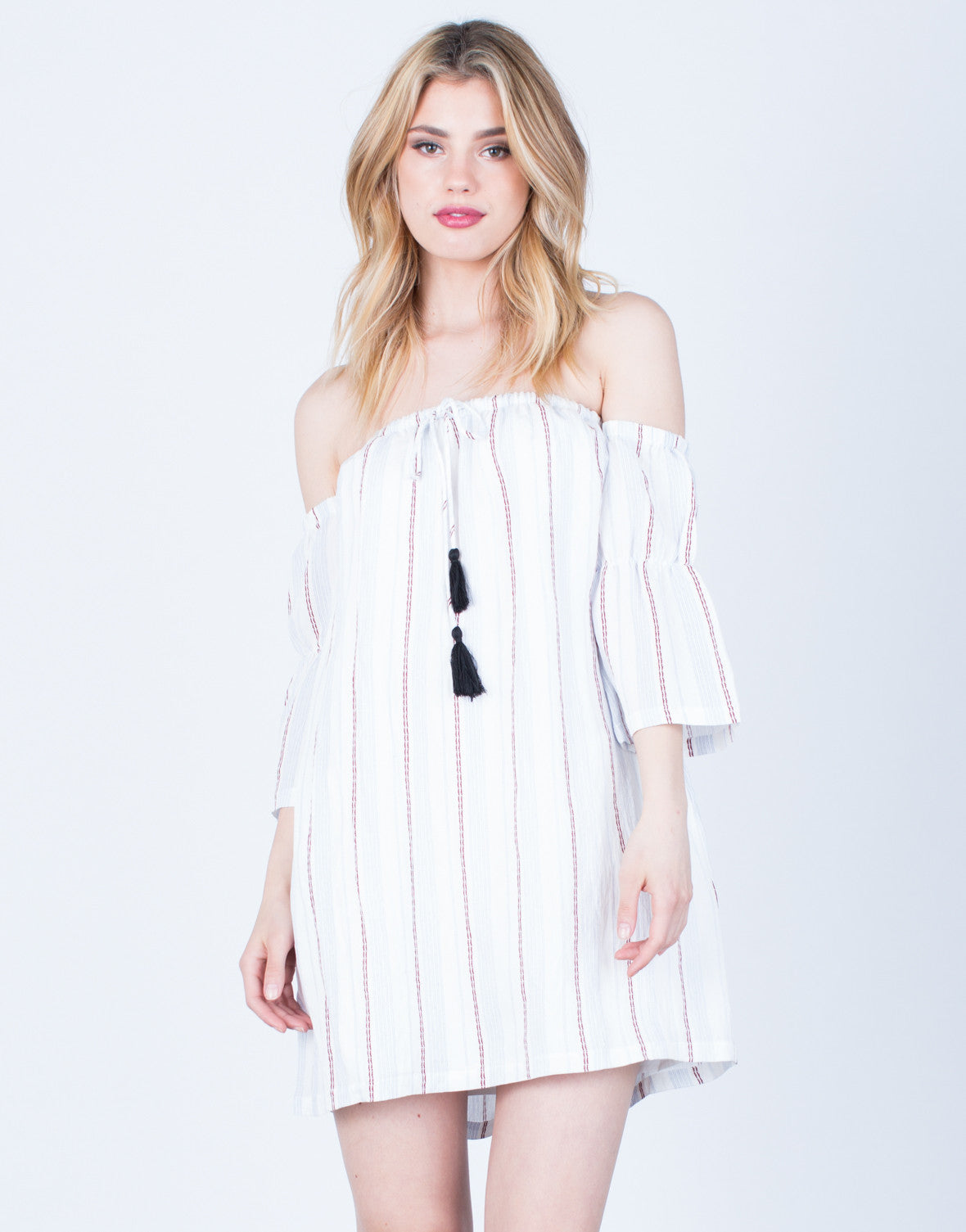 Front View of Off-the-Shoulder Striped Dress