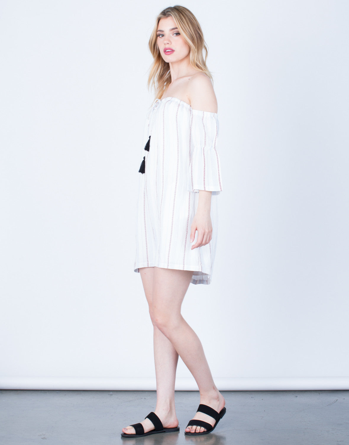 Side View of Off-the-Shoulder Striped Dress