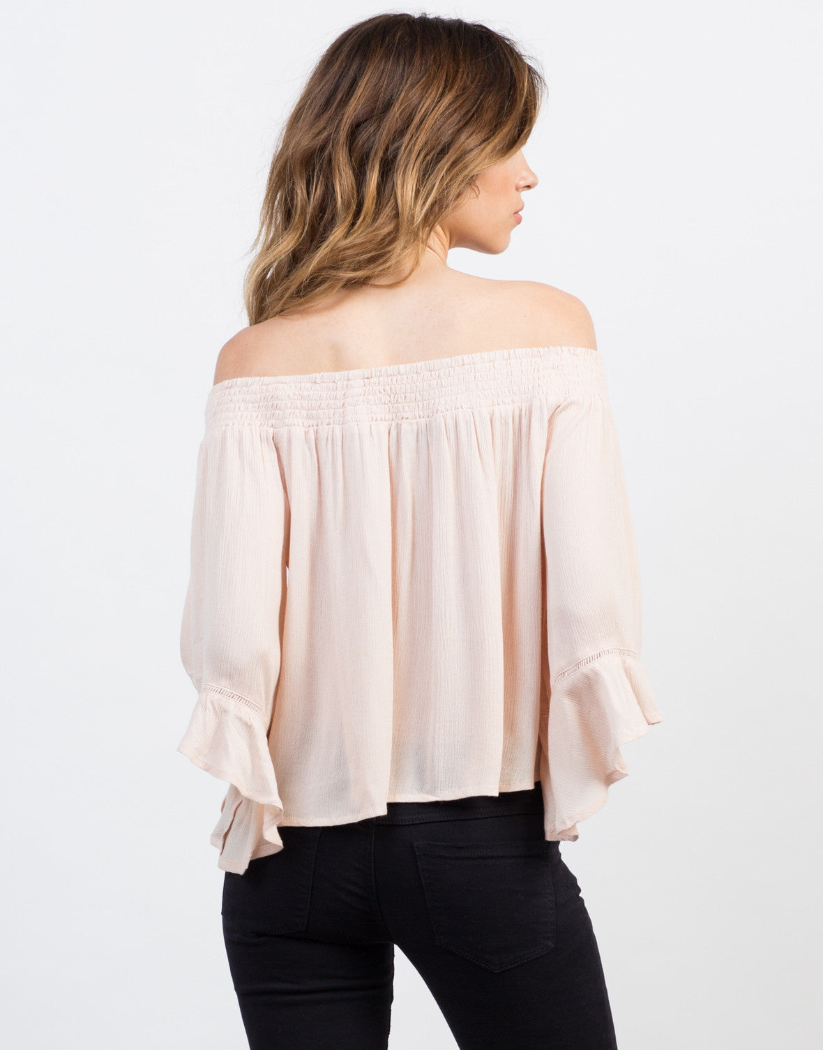Back View of Off-the-Shoulder Flowy Gauze Top