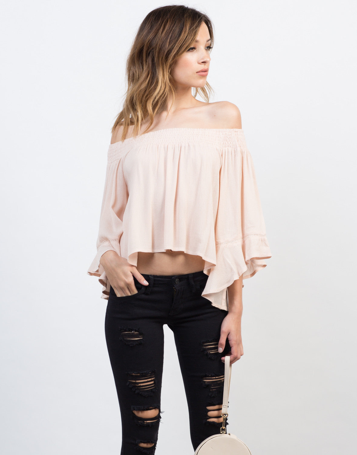 Front View of Off-the-Shoulder Flowy Gauze Top