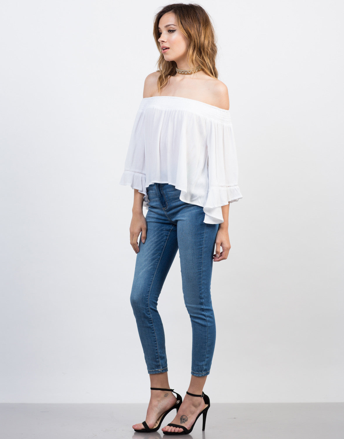 Side View of Off-the-Shoulder Flowy Gauze Top