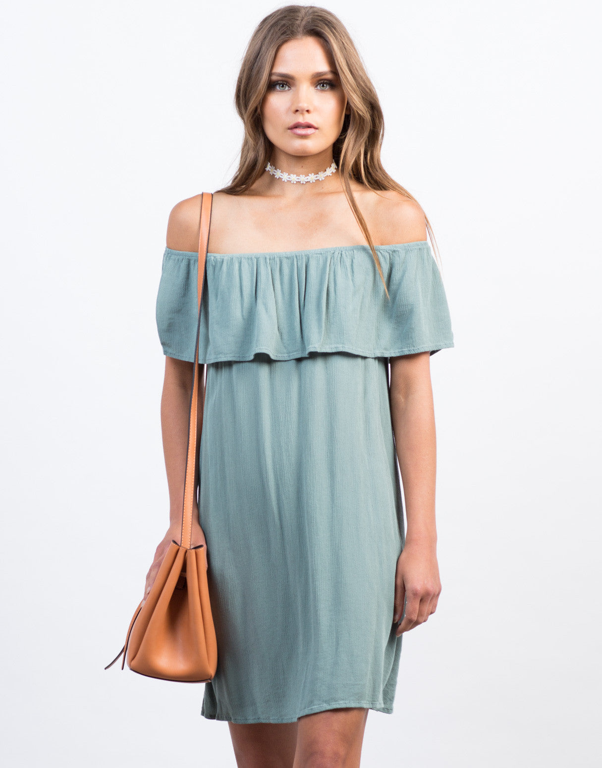 Front View of Off-the-Shoulder Gauze Dress