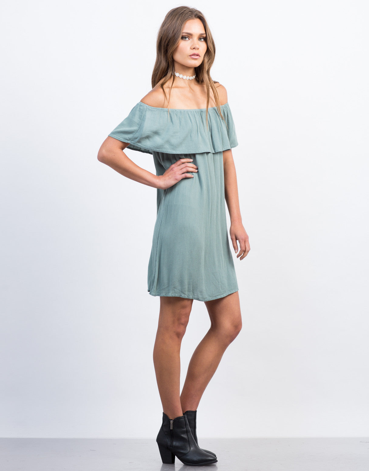 Side View of Off-the-Shoulder Gauze Dress