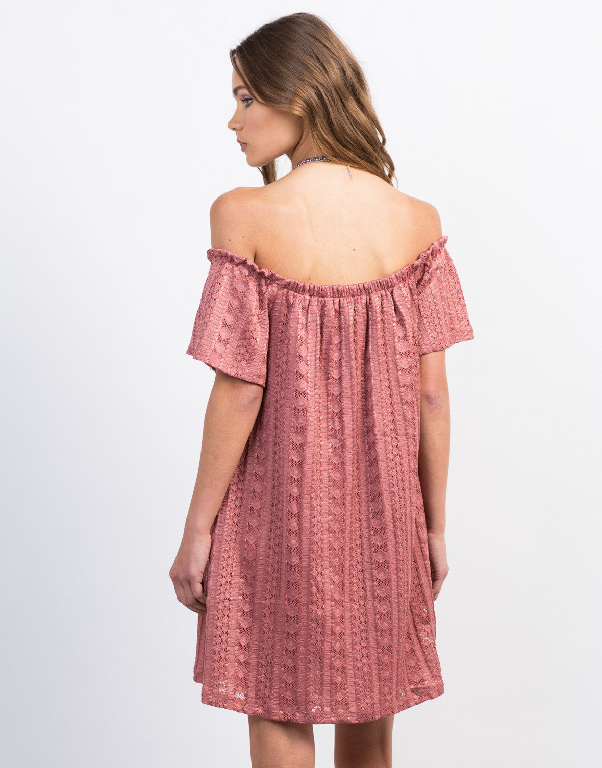 Back View of Off-the-Shoulder Lace Detailed Dress