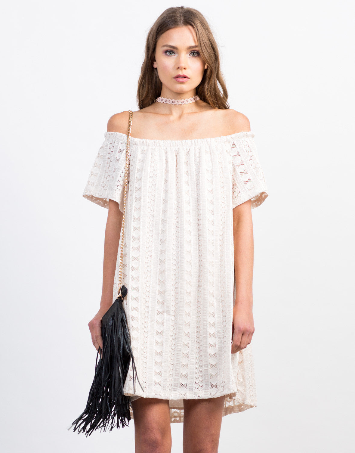 Front View of Off-the-Shoulder Lace Detailed Dress