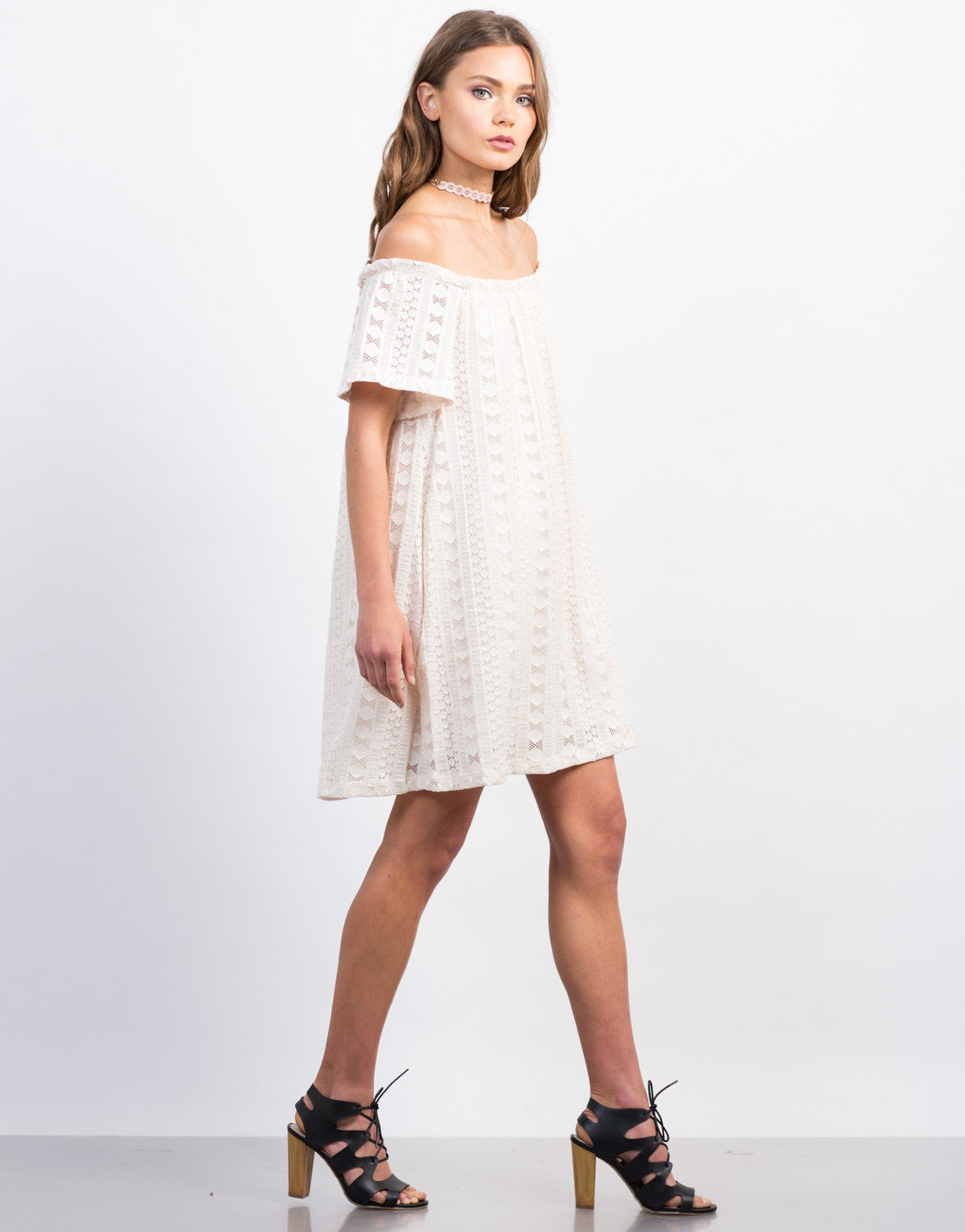 Side View of Off-the-Shoulder Lace Detailed Dress