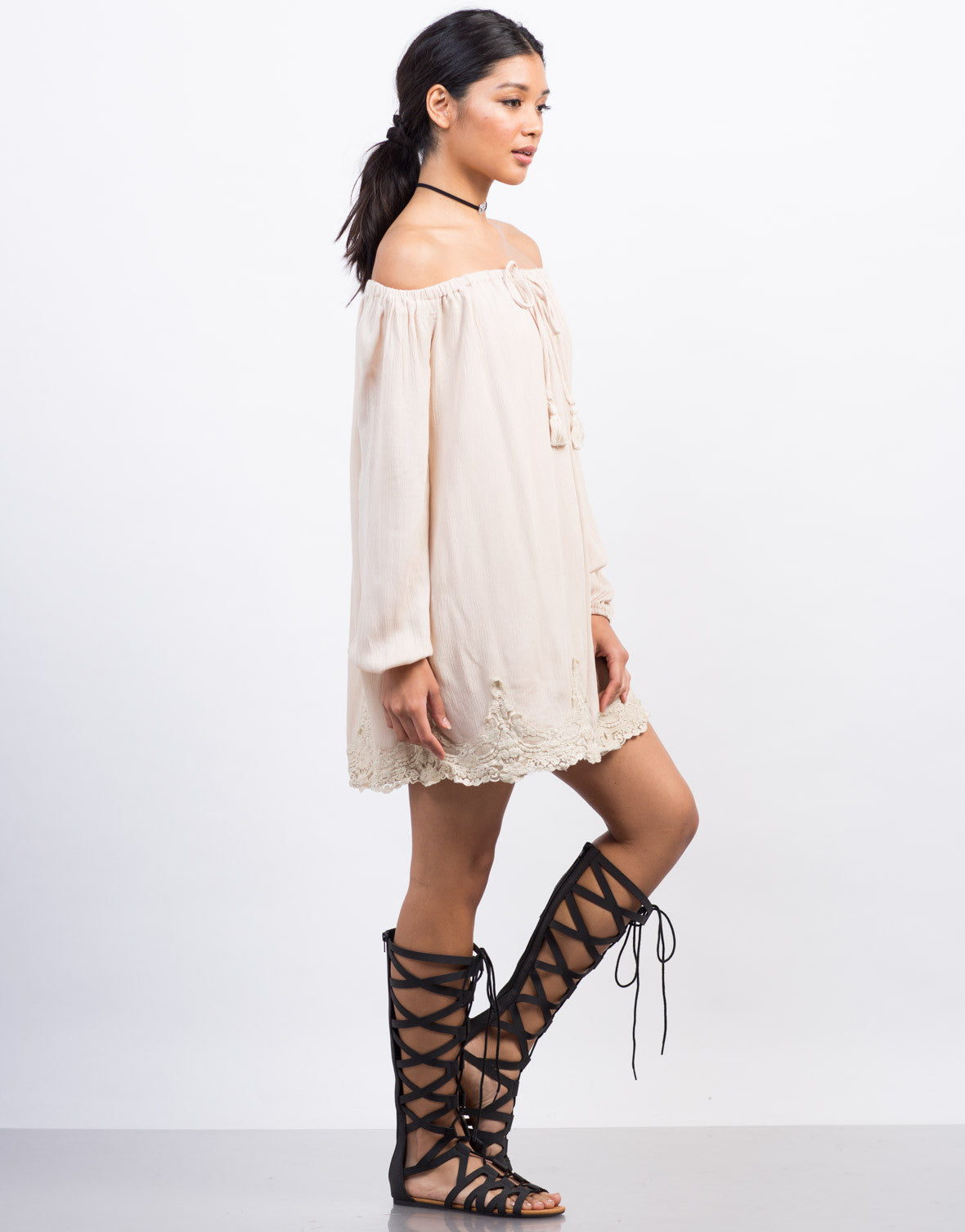 Side View of Off-The-Shoulder Lace Trim Dress