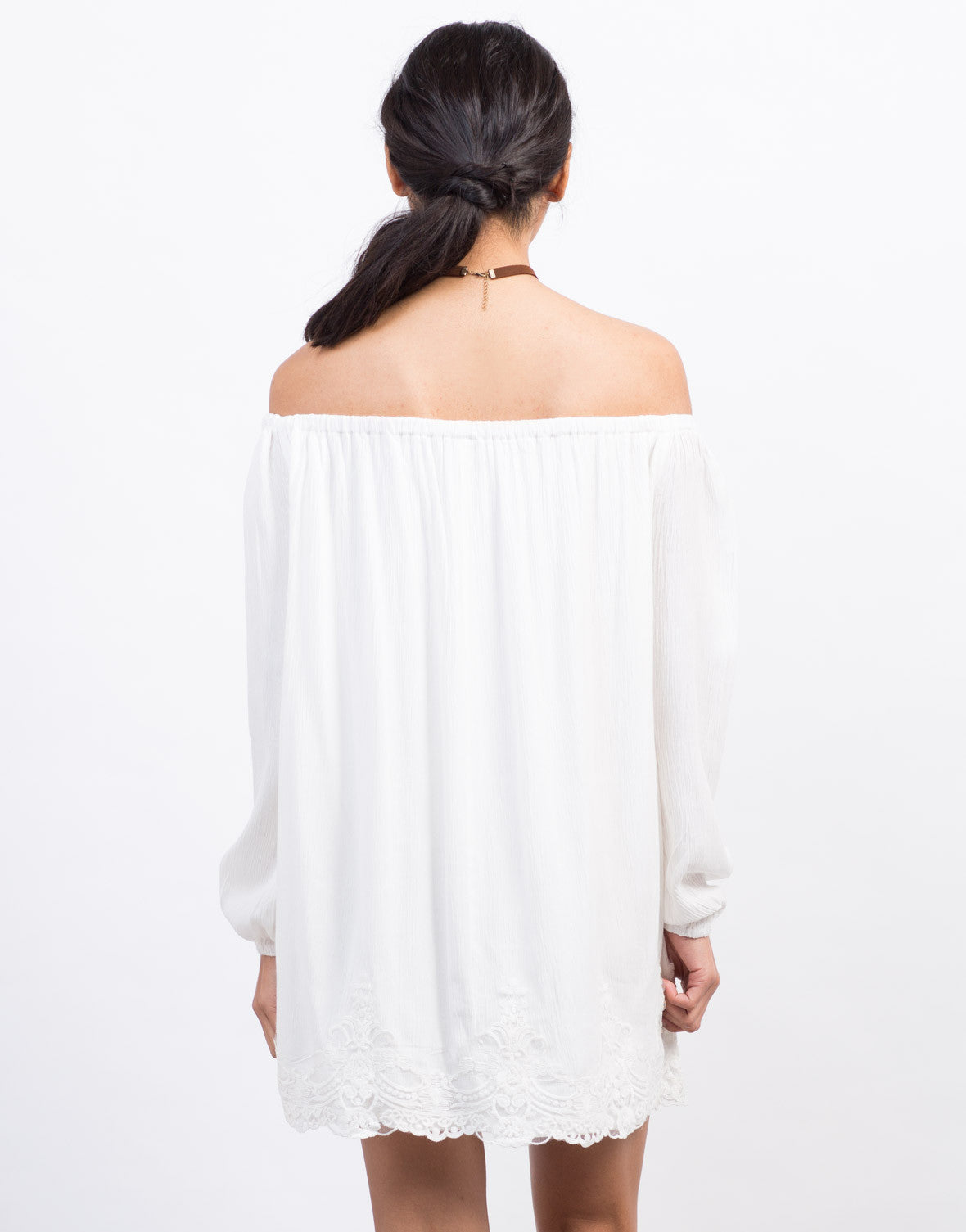 Back View of Off-The-Shoulder Lace Trim Dress