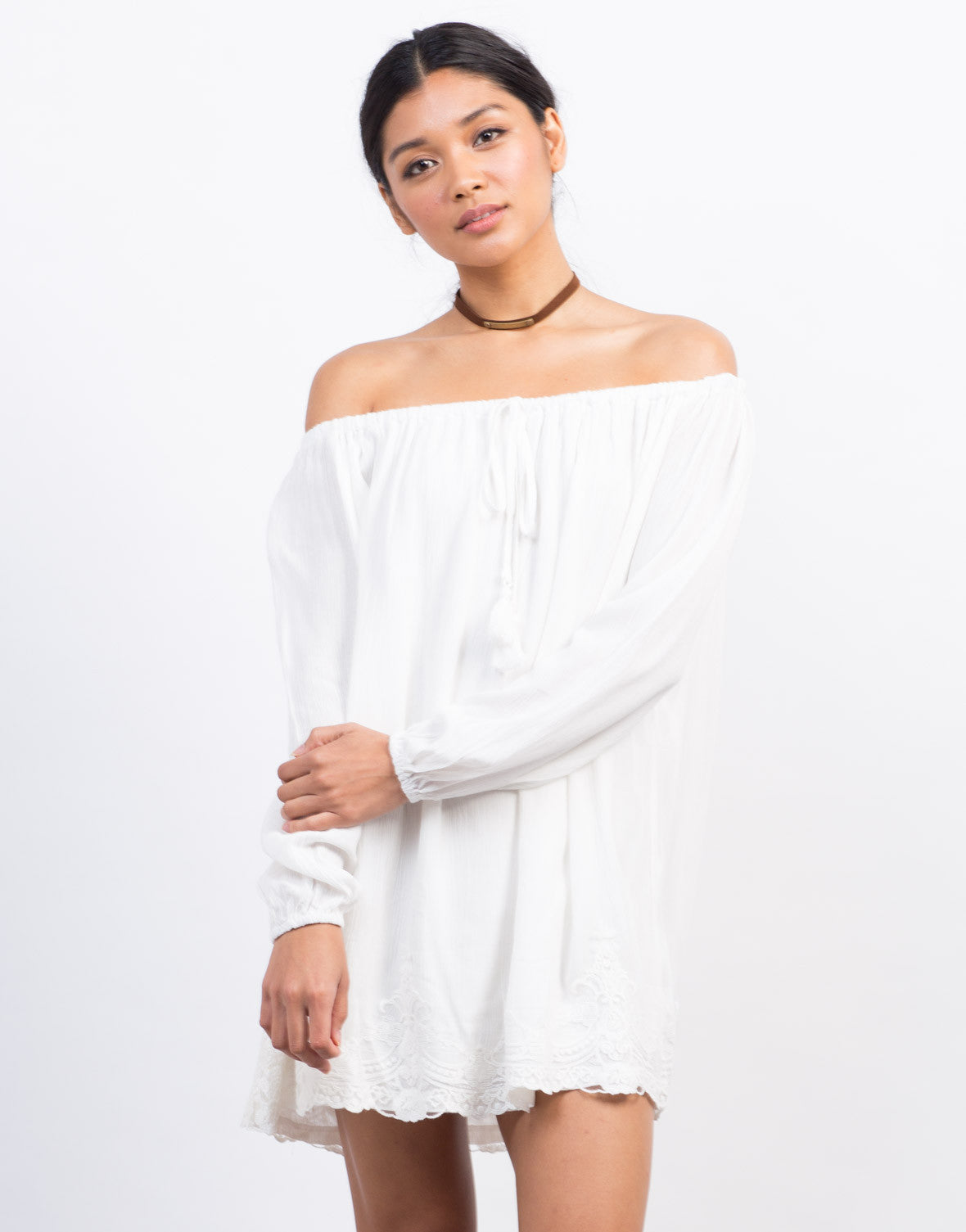 Front View of Off-The-Shoulder Lace Trim Dress