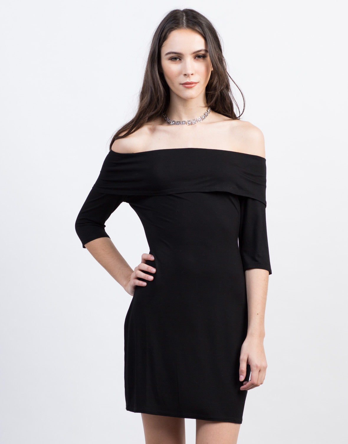 Front View of Off-the-Shoulder LBD