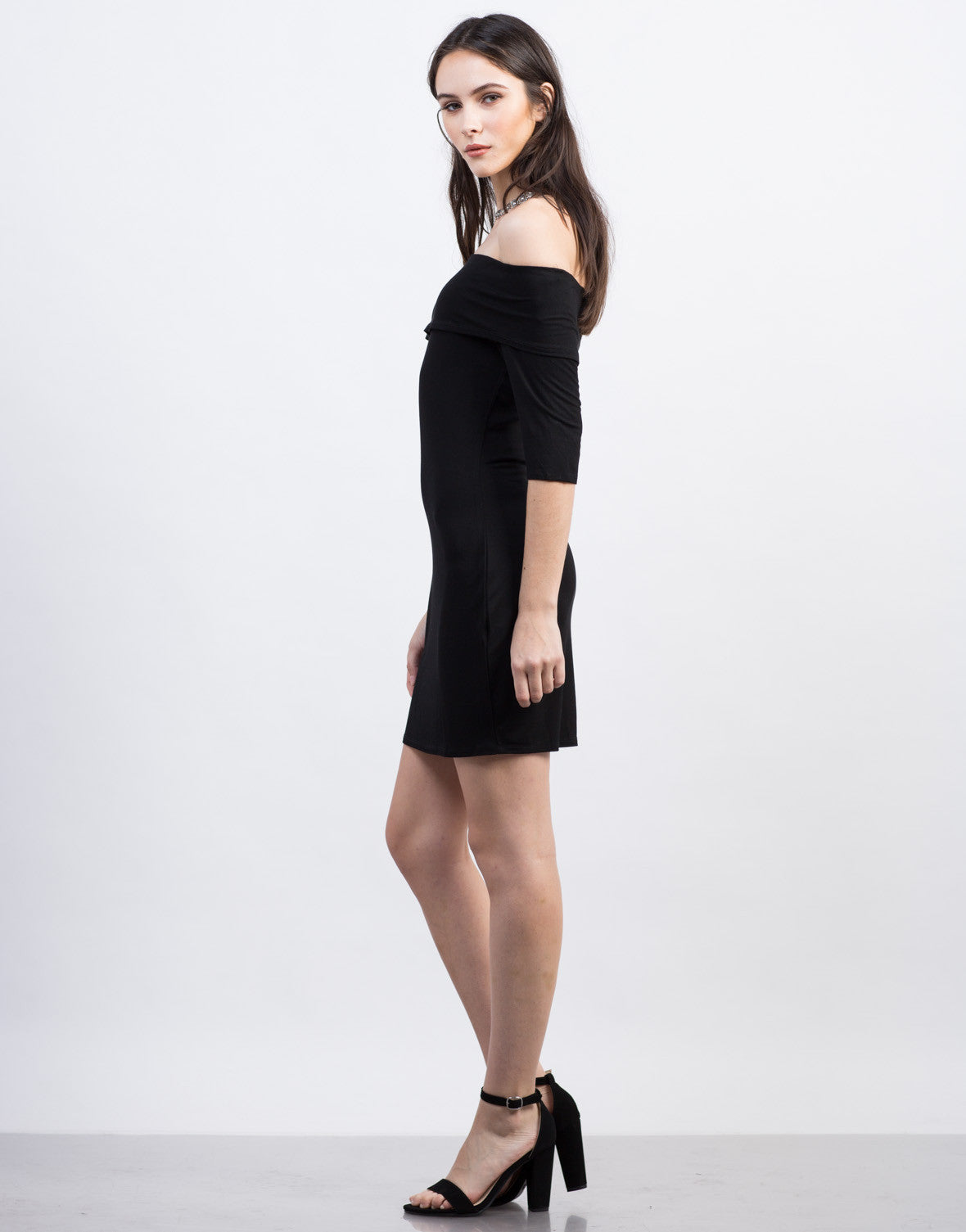 Side View of Off-the-Shoulder LBD