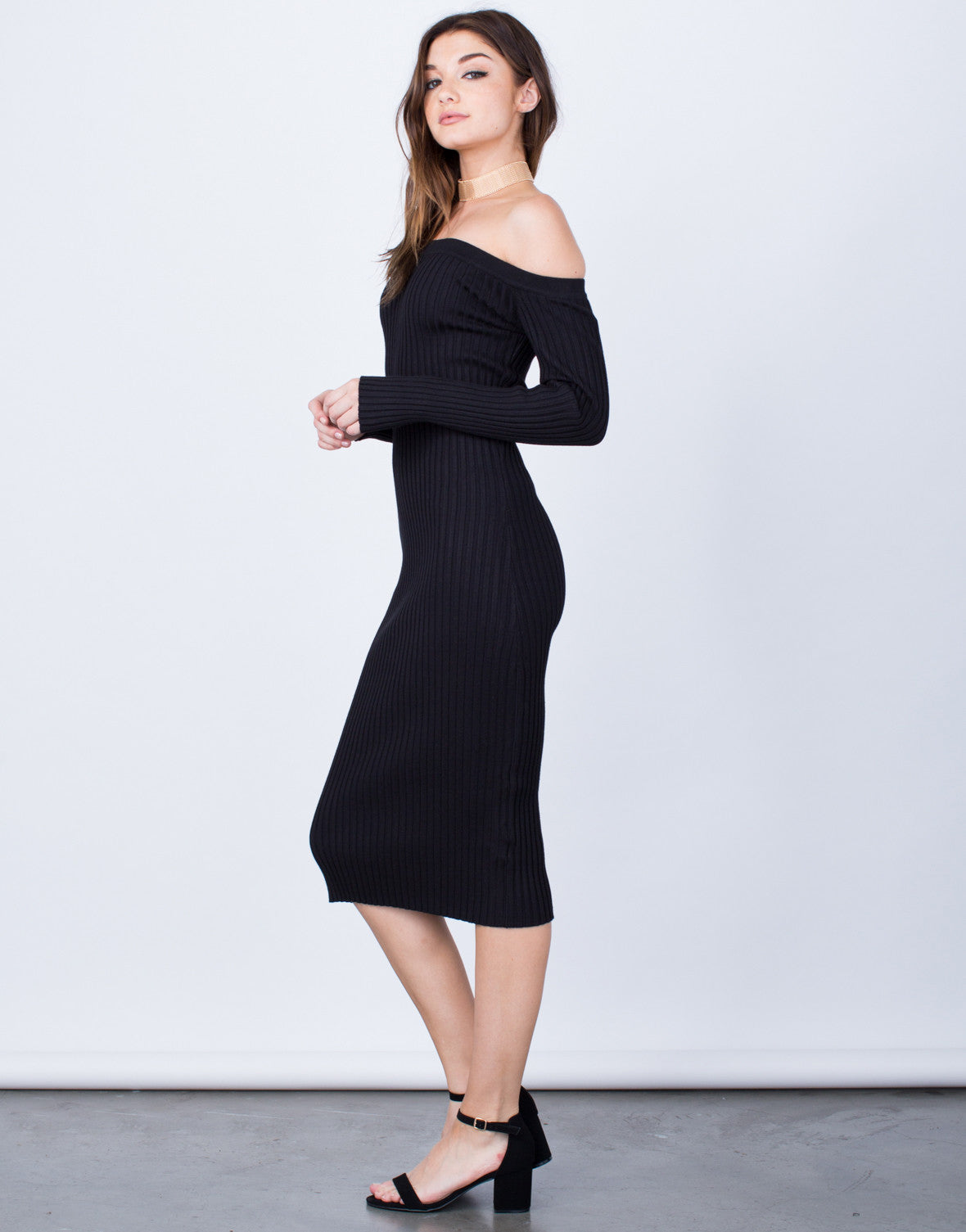 Side View of Off-the-Shoulder Midi Dress