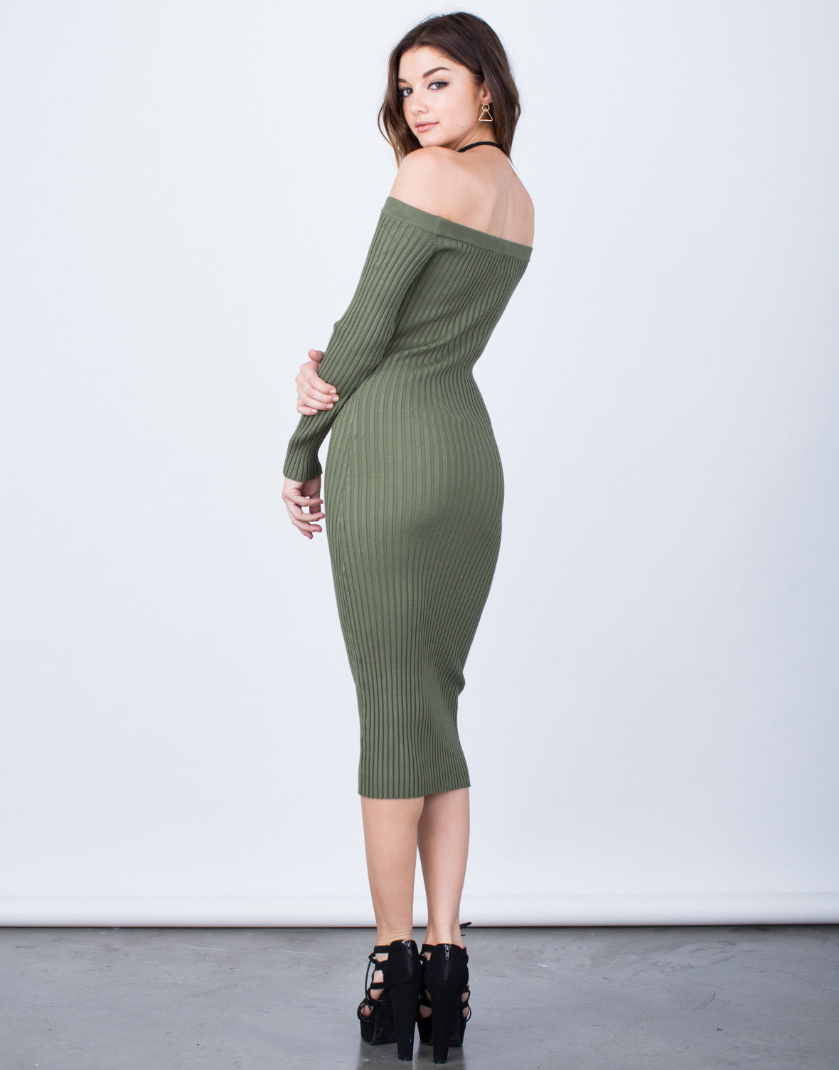 Back View of Off-the-Shoulder Midi Dress