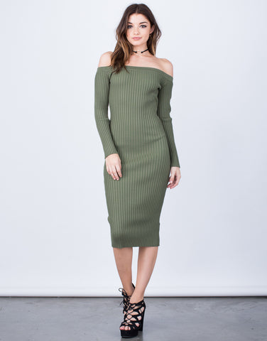 Front View of Off-the-Shoulder Midi Dress