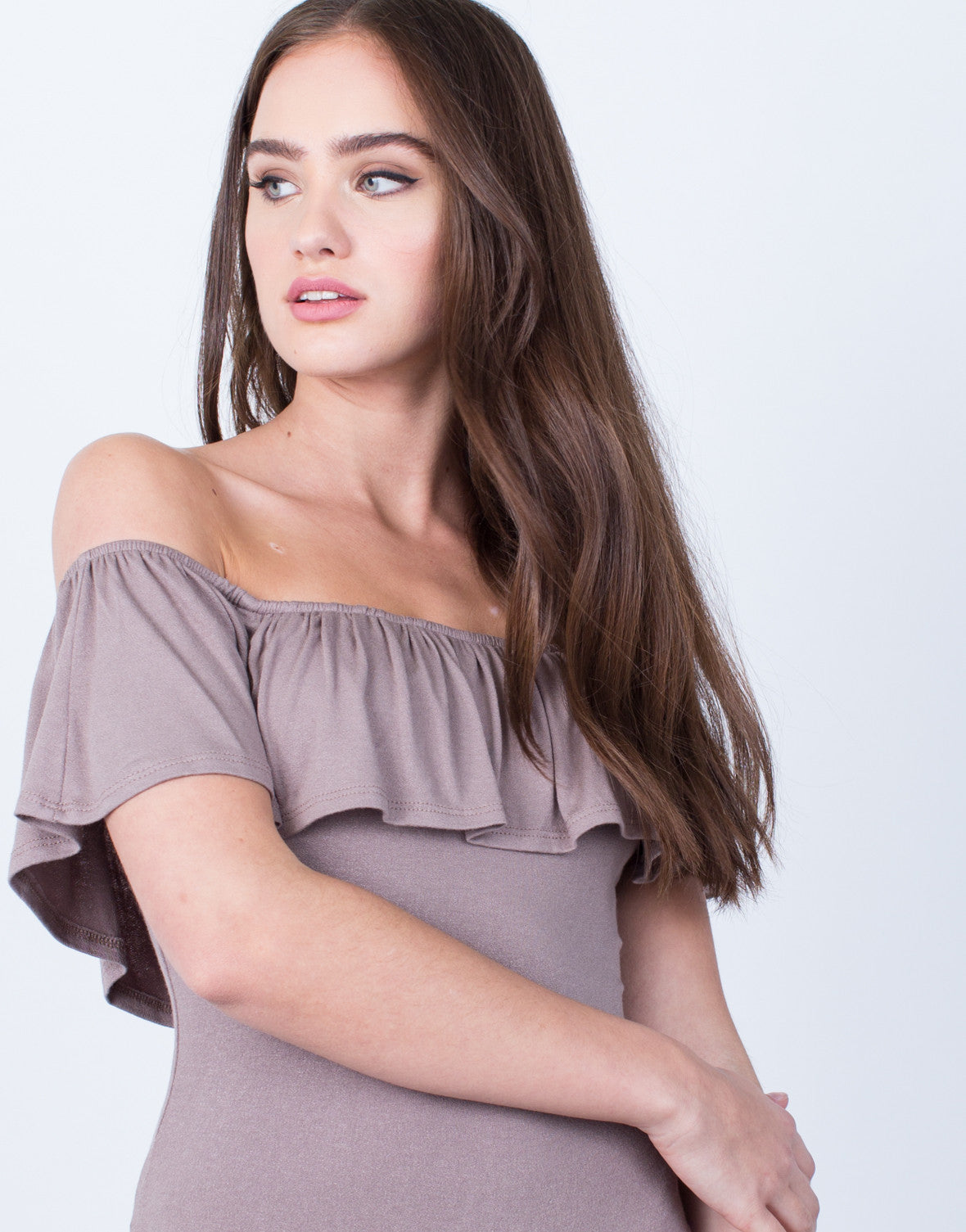 Detail of Off-the-Shoulder Ruffle Bodysuit