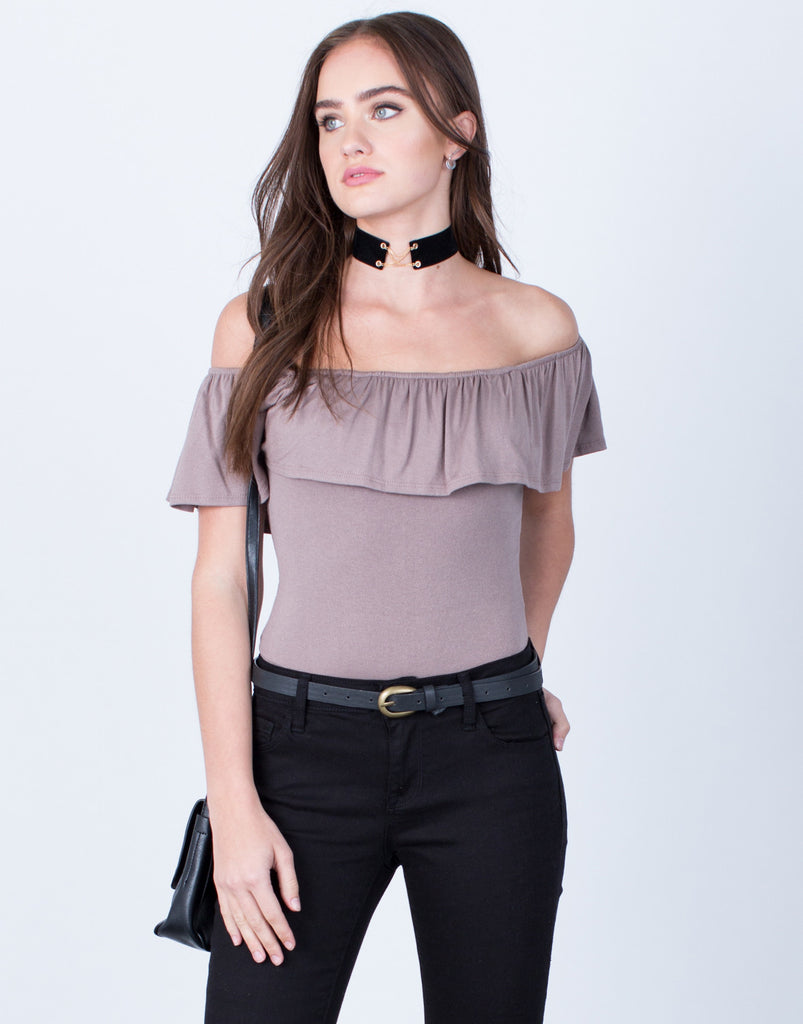 Front View of Off-the-Shoulder Ruffle Bodysuit