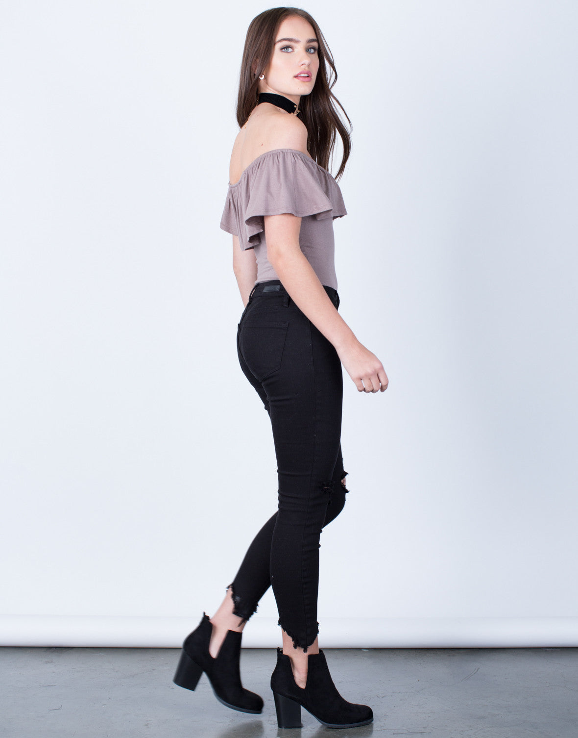 Side View of Off-the-Shoulder Ruffle Bodysuit