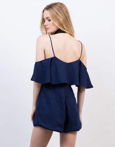 Back View of Off-the-Shoulder Ruffle Romper