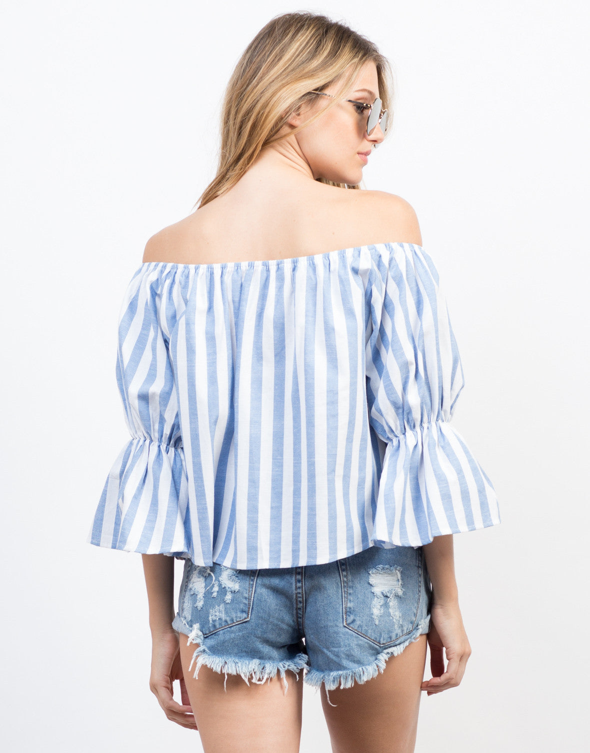 Back View of Off-the-Shoulder Stripe Show Top