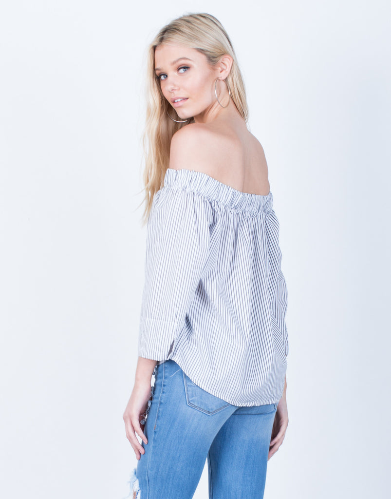Back View of Off-the-Shoulder Striped Blouse