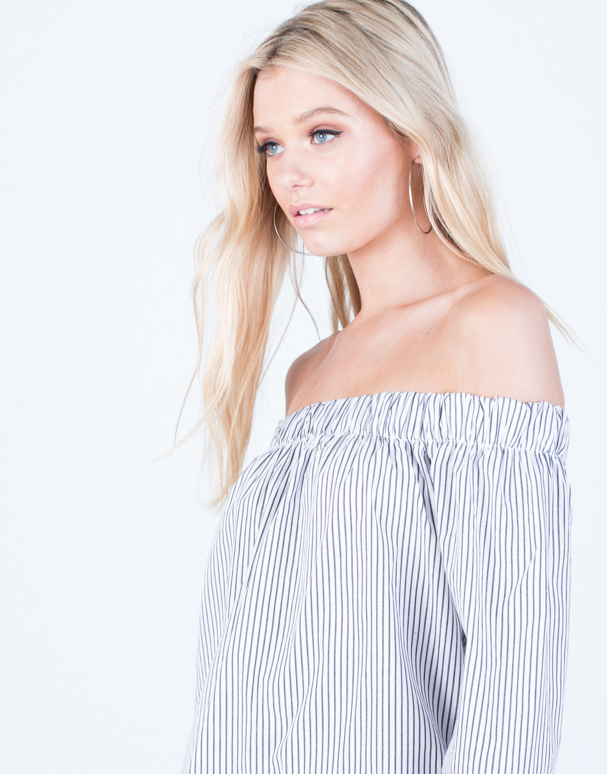 Detail of Off-the-Shoulder Striped Blouse