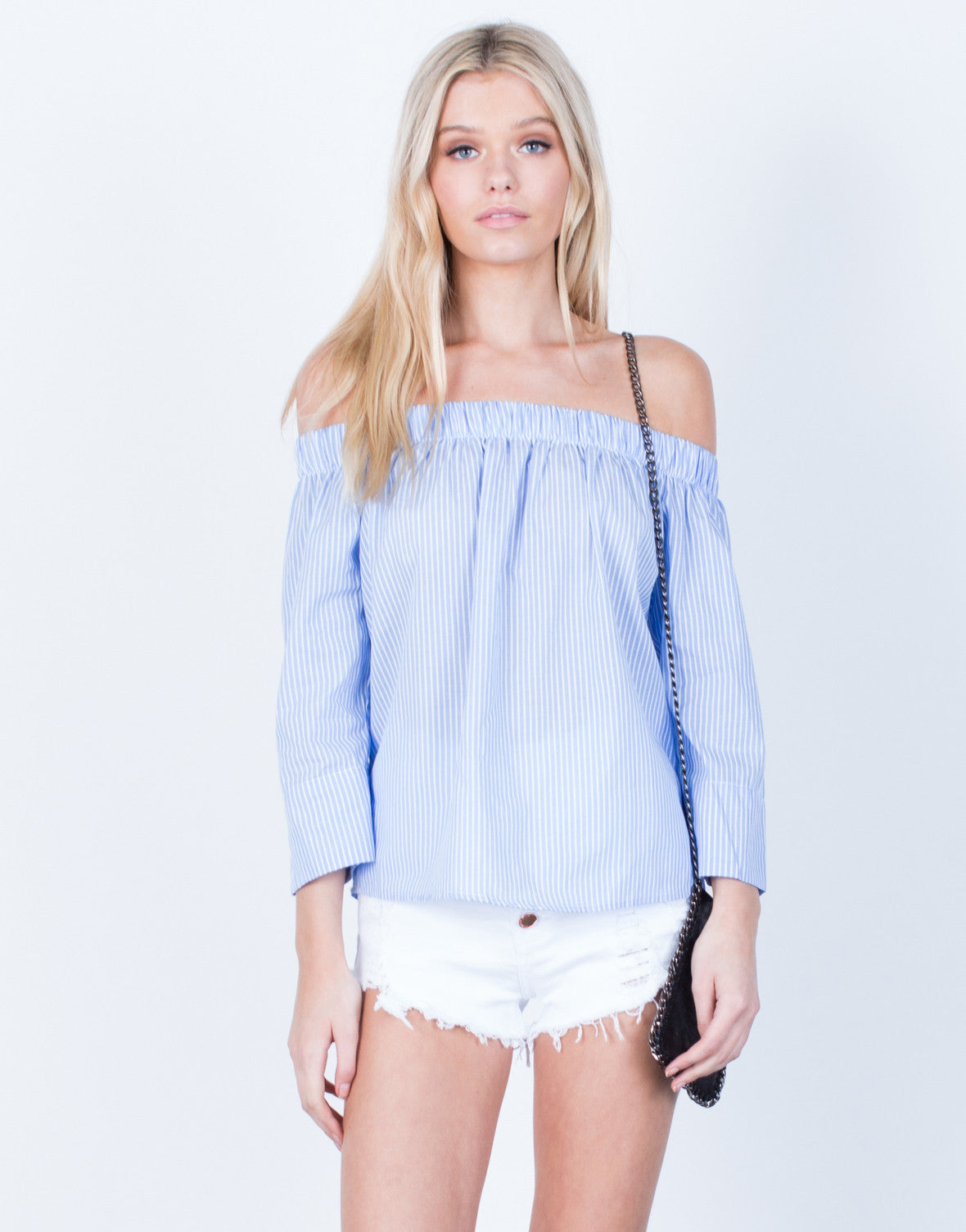 Front View of Off-the-Shoulder Striped Blouse