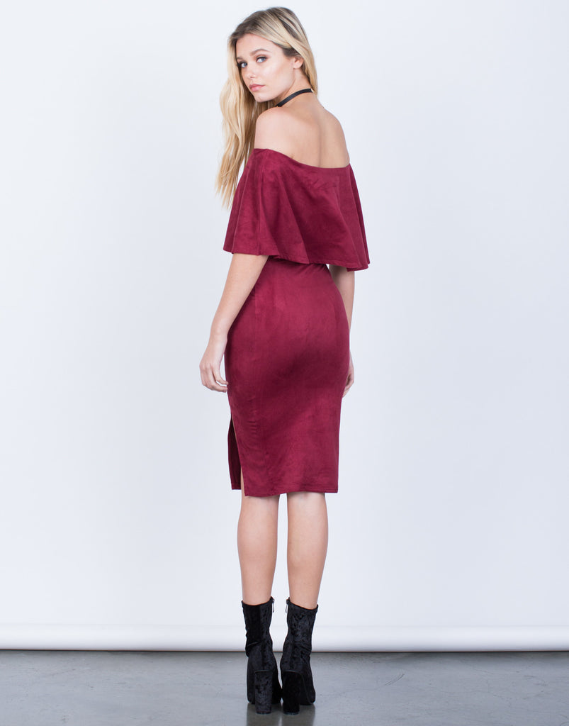 Back View of Off-the-Shoulder Suede Dress