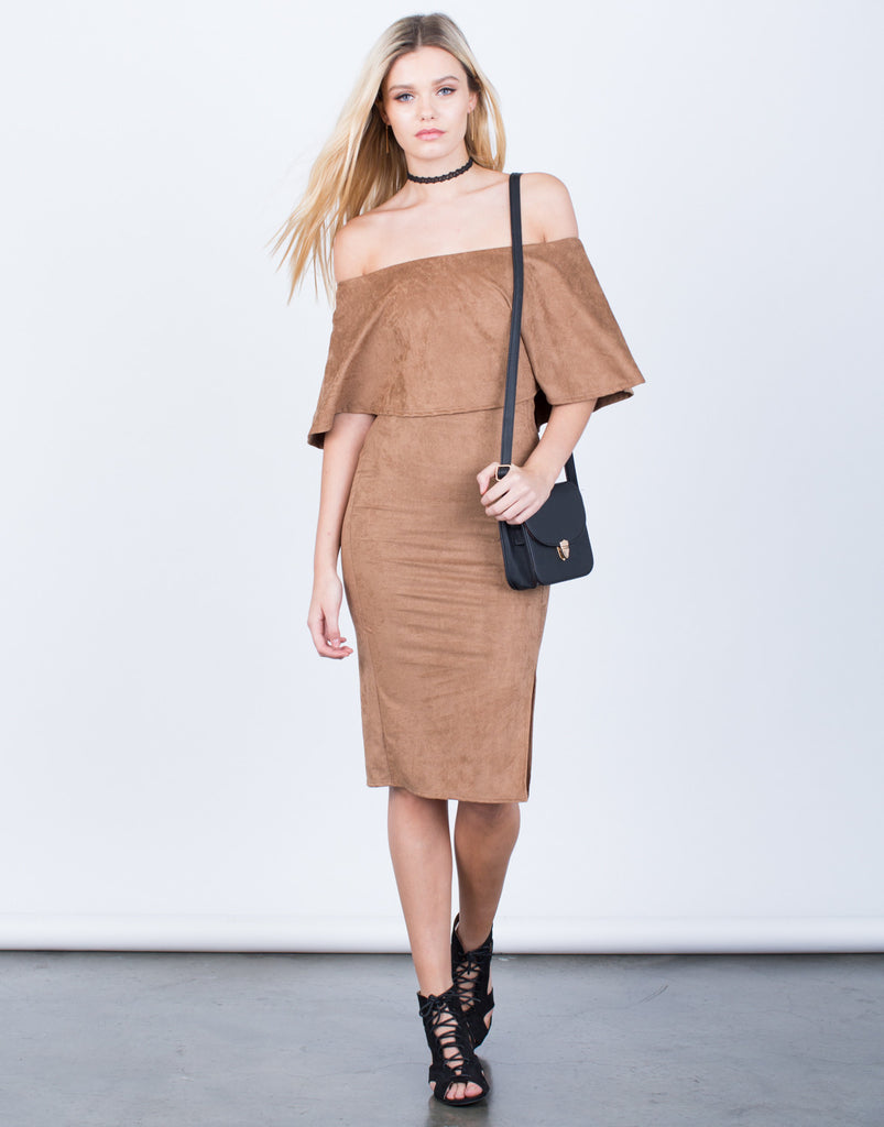 Front View of Off-the-Shoulder Suede Dress