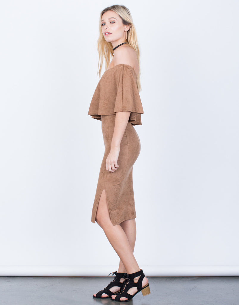 Side View of Off-the-Shoulder Suede Dress