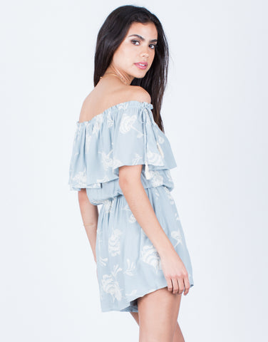 Back View of Off-the-Shoulder Tassel Romper