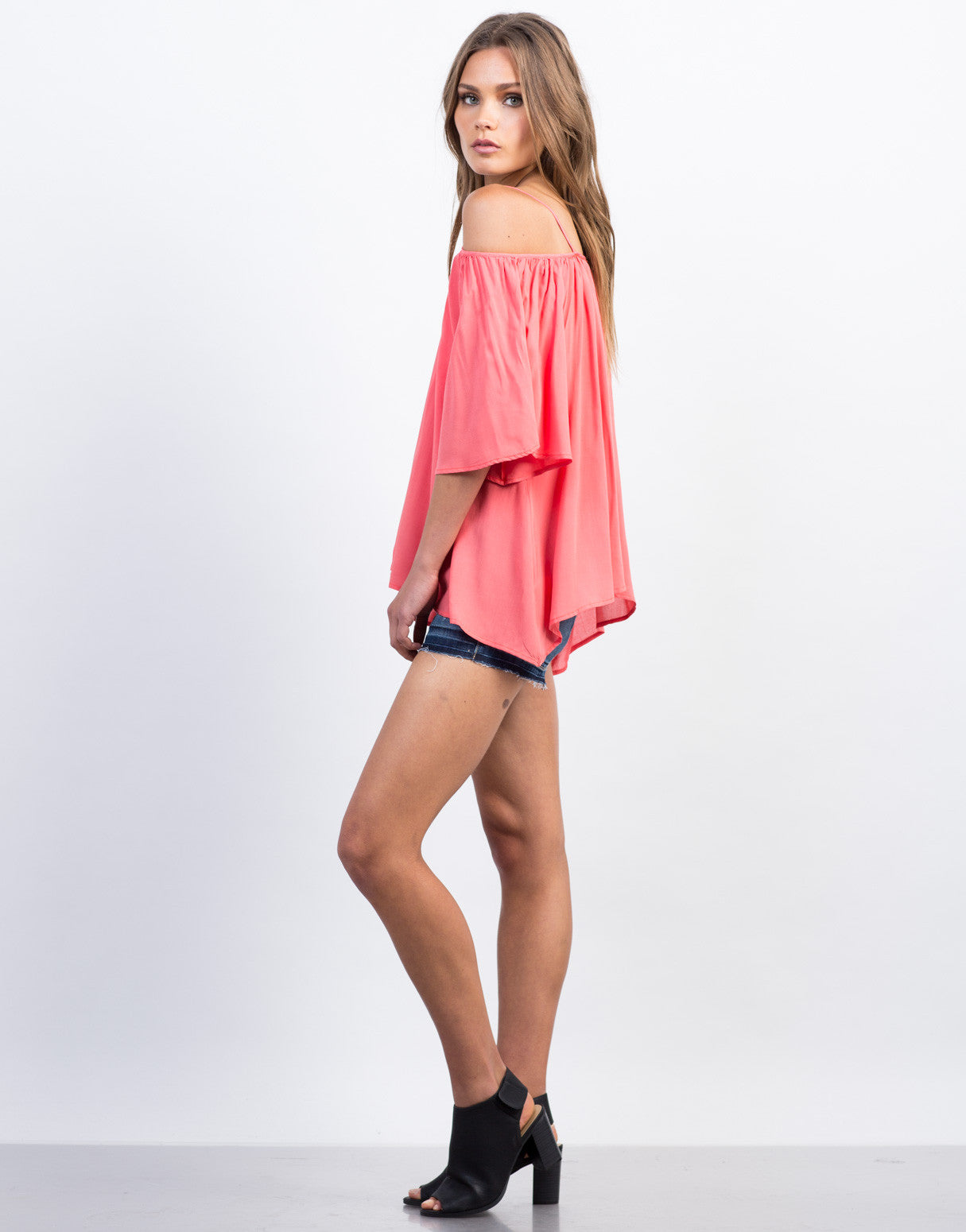 Side View of Off-the-Shoulder Tassel Top