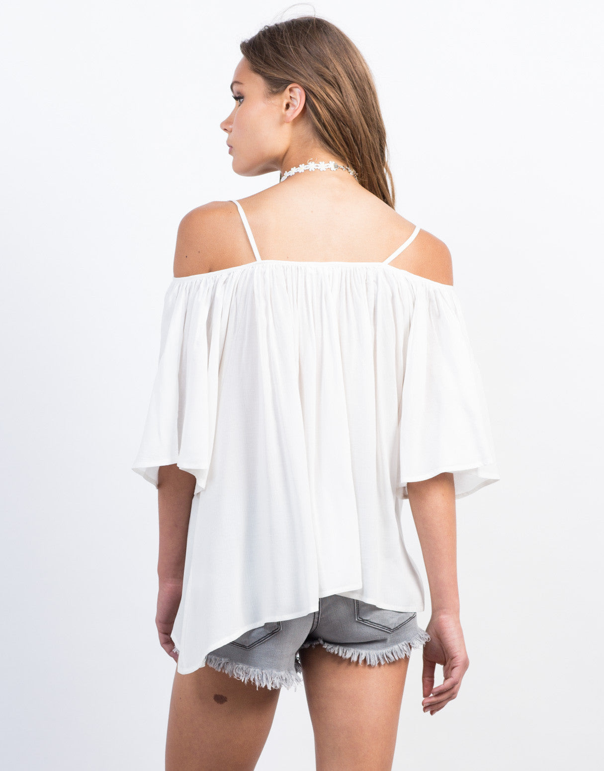 Back View of Off-the-Shoulder Tassel Top