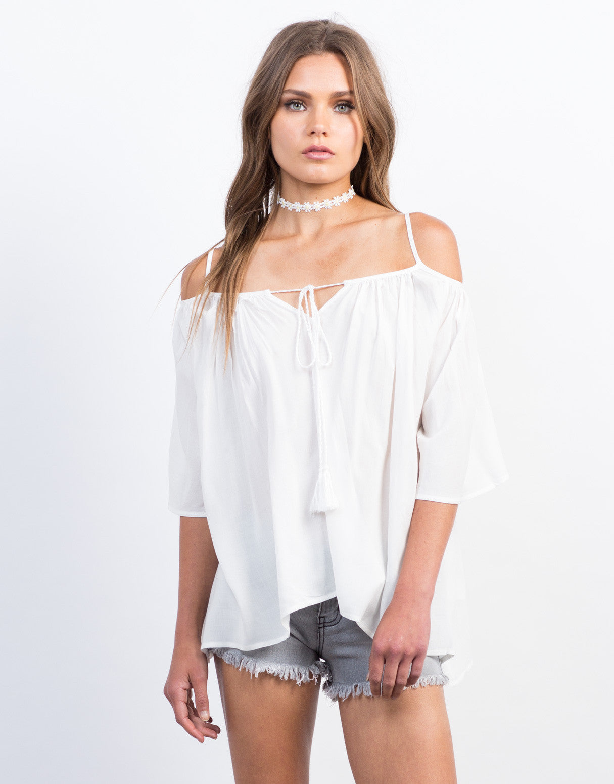 Front View of Off-the-Shoulder Tassel Top