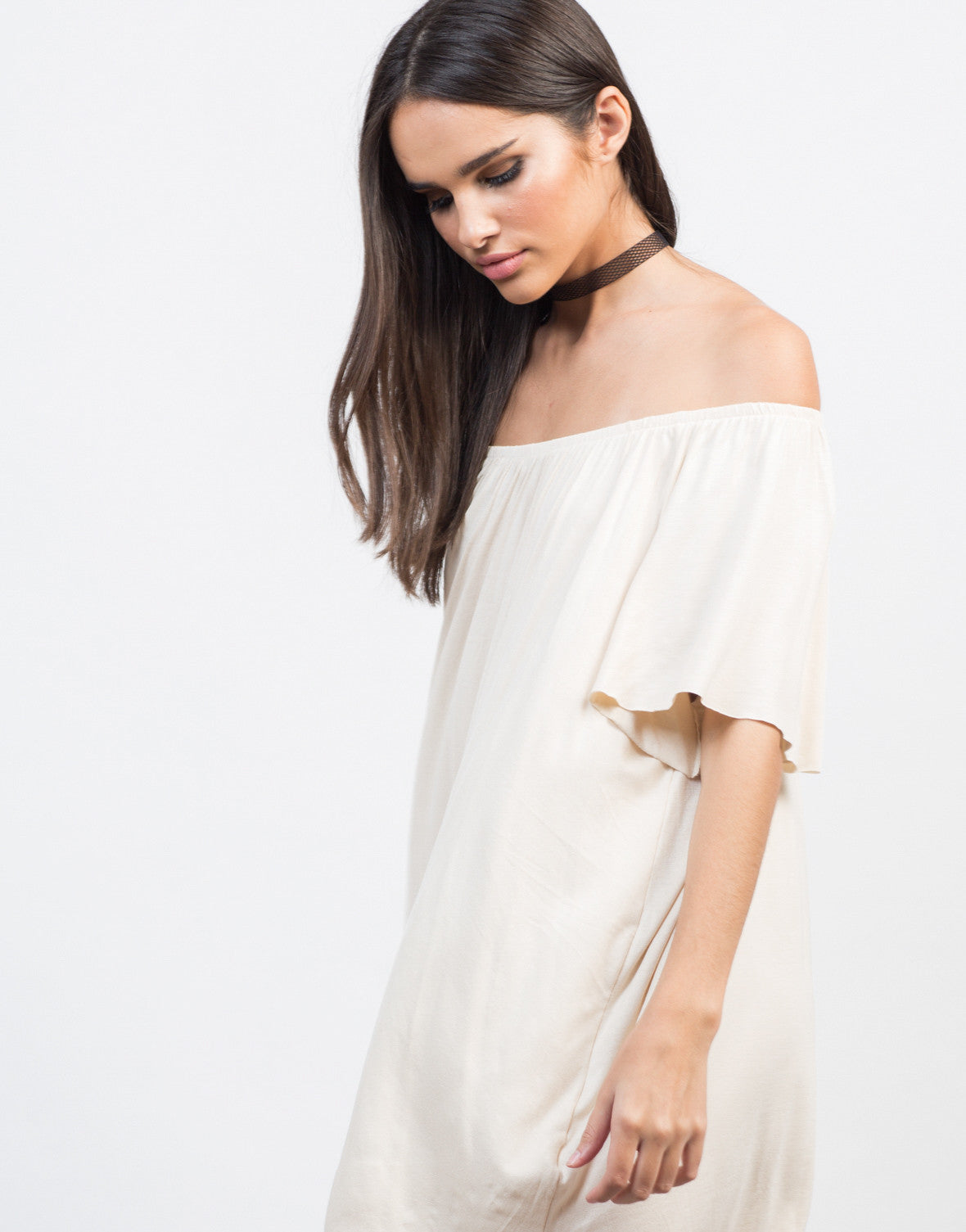 Detail of Off-the-Shoulder Tee Dress