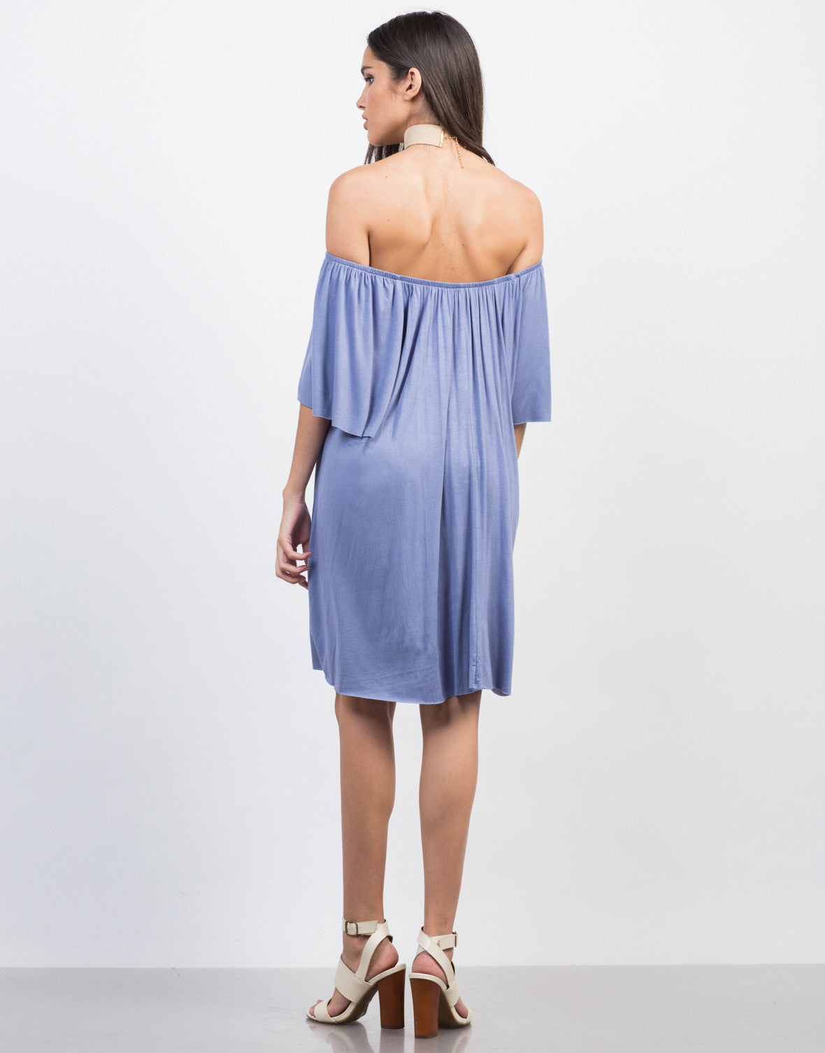 Back View of Off-the-Shoulder Tee Dress