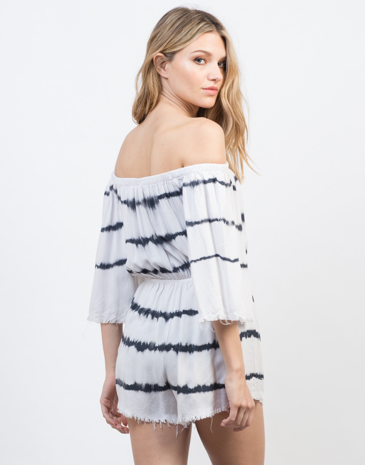 Back View of Off-the-Shoulder Tie-Dye Romper