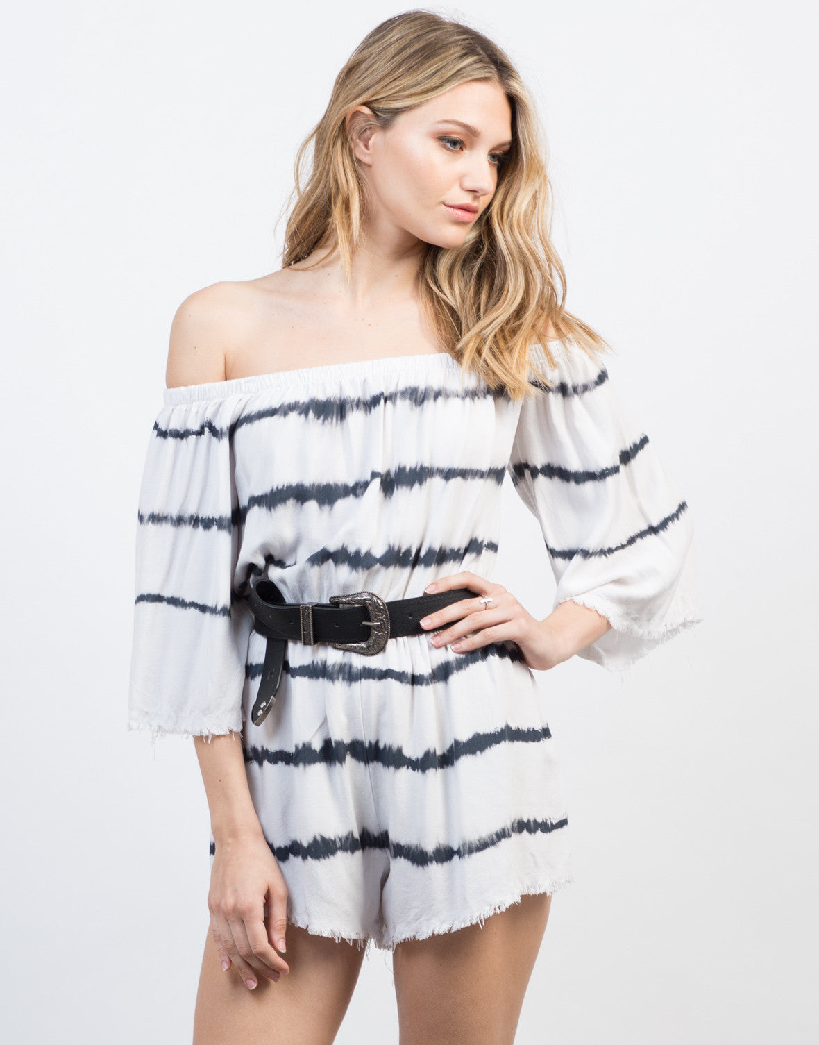 Front View of Off-the-Shoulder Tie-Dye Romper
