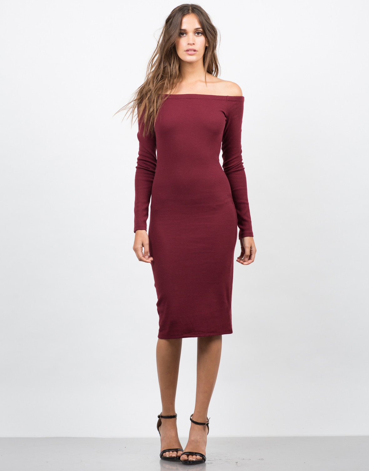 Front View of Off Shoulder Midi Dress