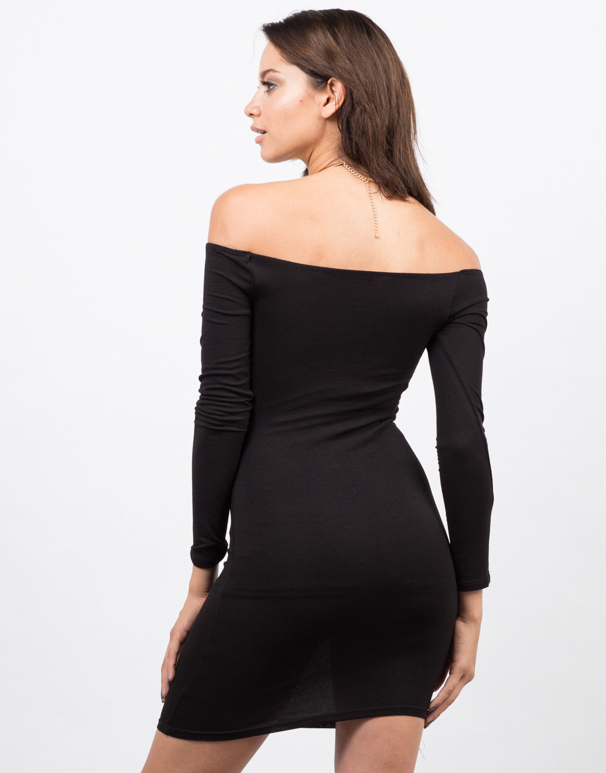 Side View of Off the Shoulder Bodycon Party Dress